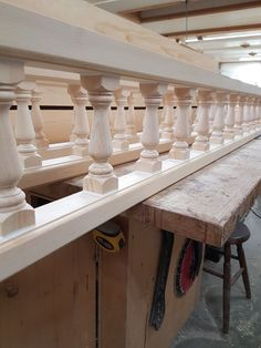 Sections of our spandrel rails assembled. Entryway Tables, Wood, Furniture, Home Decor, Decoration Home, Woodwind Instrument, Room Decor, Timber Wood, Home Furnishings