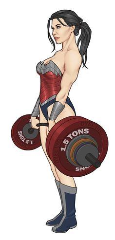 Wonder Woman lifting weights