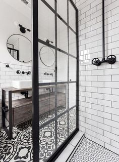 Gridscape Fixed Shower Screen Panel in Black with Clear .- Gridscape Fixed Shower Screen Panel in Black with Clear Glass meg schultz - Bad Inspiration, Bathroom Inspiration, Industrial Bathroom, Modern Bathroom, Minimalist Bathroom, Black Bathrooms, Brown Bathroom, Industrial Shower Doors, Stone Bathroom