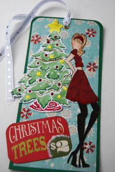 "Prima Doll Stamp Tag ""Christmas Trees"" - Handmade Paper Tag for a Girl, Book Mark, Use as a gift, Tag or tree Ornament"
