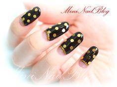 Black and Gold Mani Nail Blog, Simple Designs, Valentines Day, Nail Polish, Dots, Nail Art, Glitter, Chocolate, Nails