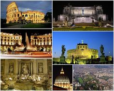 From top left clockwise: the Colosseum, the Monument to Vittorio EmanueleII, the Castel Sant'Angelo, an aerial view of the city's historic centre, the dome of St.Peter's Basilica, the Trevi Fountain, the Piazza della Repubblica.
