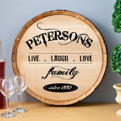 Personalized Wooden Wine Barrel Top Sign - Live Laugh Love