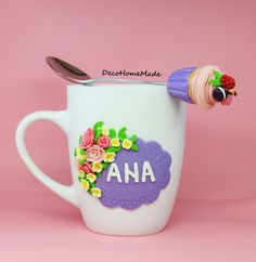 Polymer Clay mug & spoon - flowers & cupcake / handmade                                                                                                                                                                                 More