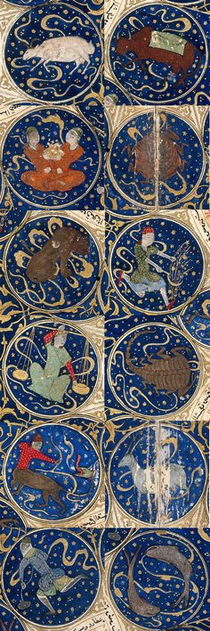 Islamic Zodiac signs in the horoscope of Timurid Prince Iskandar - a beautiful example of Islamic art in the Middle Ages. Read our blogpost about the history and some intriguing details of the miniature. http://www.chartofthemoment.com/history-and-art/horoscope-of-iskandar-timurid-islamic-painting/ image credit: Wellcome Library http://wellcomeimages.org/indexplus/image/L0015229.html