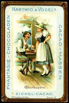 "German Costumes - Oberbayern    Hartwig & Vogel Chocolate (Dresden)  c1900 German Regional Costumes.  ""Oberbayern"""