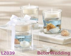 """Seashells"" Seashell Gel Tealight Holder BETER-LZ039      Ocean, Beach Theme Party Crafts 上海倍樂禮品Shanghai Beter Gifts ; http://shanghai-beter.taobao.com"
