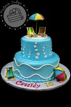 cute pool party cake