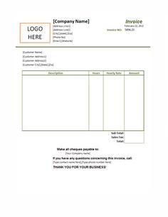 hourly rate invoice