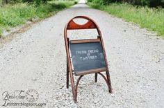 Don't overlook folding chairs—they have a ton of crafting potential, too. Replace a damaged frame with medium-density fibreboard, then cover it in chalkboard paint to create a standing message board, perfect for greeting party guests.  Get the tutorial at Knick of Time.