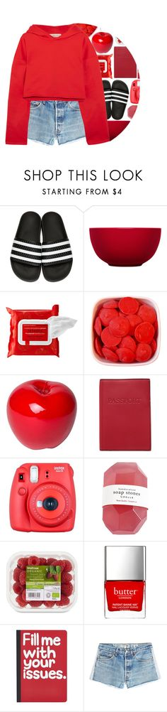 """""""red"""" by maevekaterina ❤ liked on Polyvore featuring adidas Originals, iittala, Sephora Collection, Bitossi, Lodis, Fuji, Butter London, Pier 1 Imports, RE/DONE and Golden Goose"""