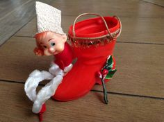 Small VIntage Chenille Elf with Santa's Boot by ShabbyBrocante