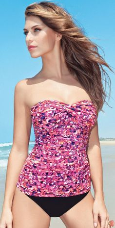 72a32146ed1d7 Profile by Gottex 2013 Watercolor Tri Colore Bandeau Tankini   Bottom Only