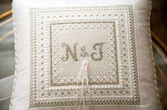 Needlepoint ring pillow wedding