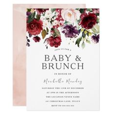 Blush Burgundy Watercolor Baby Shower & Brunch Invitation See matching collection in Niche and Nest Store We also have plenty of other Invitation and collections. Boho Baby Shower, Baby Shower Floral, Baby Shower Brunch, Baby Shower Winter, Girl Shower, Baby Shower Themes, Bridal Shower, Shower Ideas, Chalkboard Wedding