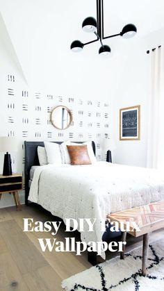 Expensive Wallpaper, Herringbone Wall, Diy Wallpaper, Bedroom Wallpaper, Painting Bedroom Walls, Sponge Painting Walls, Wallpaper Designs For Walls, Diy Wall Painting, Bedroom Prints