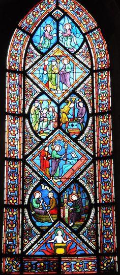 Caen - Église Saint-Étienne vitraux - Calvados dept. - Basse Normandie région, France