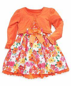 Nannette Little Girls' 2-Piece Shrug & Floral Dress Set - Kids Kids' Special Occasion - Macy's
