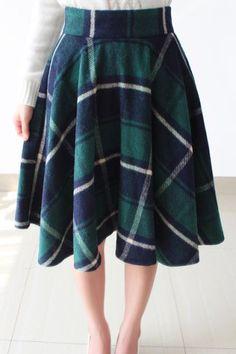 Vintage High Waist Plaid Woolen Skirt For Women