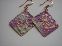 Handmade by Me Copper Embossed  Flower Hand Patinaed and hand distressed earring metal work earring on Etsy, $19.00