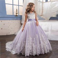 Light Purple Flower Girl Dresses Ball Gown Party Pageant Dress for Wedding Little Girl Kids/Children Communion Princess Dress 89