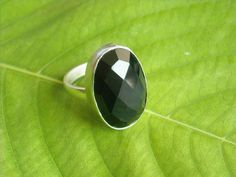Faceted Chunky Oval Black Onyx Gemstone Bezel Bold Ring - Ideal Jewelry Gift for Her