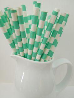25 AQUA CIRCLES Horizontal Stripe Drinking Paper Straws Mason Jar Straw Party Straw Shower Wedding, Birthday Picnic Straws-Fast Shipping $2.99