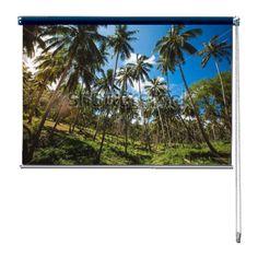 Rolgordijn Palmbomen | De rolgordijnen van YouPri zijn iets heel bijzonders! Maak keuze uit een verduisterend of een lichtdoorlatend rolgordijn. Inclusief ophangmechanisme voor wand of plafond! #rolgordijn #gordijn #lichtdoorlatend #verduisterend #goedkoop #voordelig #polyester #palmbomen #jungle #tropisch #natuur #blauw #groen #bos