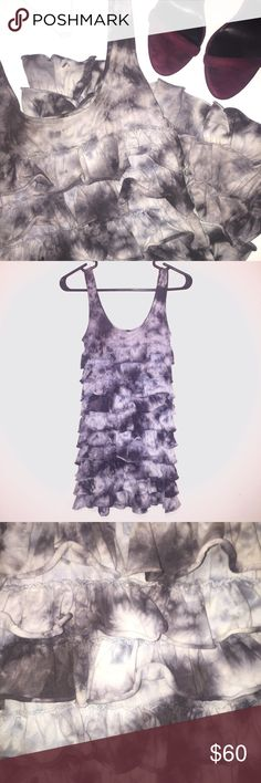 """Grey Tie Dye Ruffle Dress This adorable grey, tie dye ruffle dress is a summer go-to. Whether you pair it with sandals or heels, it makes for a versatile and cute outfit. The dress itself is 32"""" from top of shoulder to bottom. ✨EUC✨ Dresses Mini"""