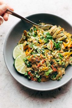 Thai Noodle Salad with Peanut Lime Dressing - veggies, chicken, brown rice noodles, and an easy homemade dressing. | http://pinchofyum.com