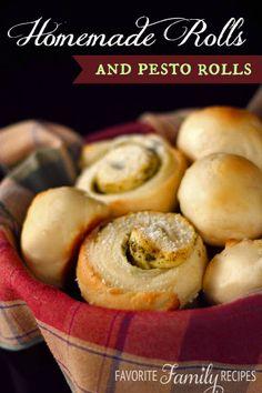 Moms Homemade Rolls and Pesto Rolls from favfamilyrecipes.com