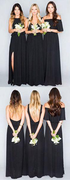 Elegant Black Chiffon Mismatched Bridesmaid Dresses,Cheap Party Dress #Black #Chiffon #Mismatched #Bridesmaiddress