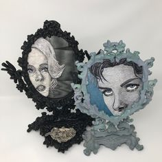 Catherine Hicks: Montage of Portraits Embroidered on Mirrors - Tippi Hedren and Ingrid Bergman, X X Silk hand embroidery on mirrors in antique frames Georgia Okeefe, Textiles Techniques, Wild Strawberries, Contemporary Embroidery, Antique Frames, Textile Artists, Vincent Van Gogh, Embroidery Art, Tippi Hedren