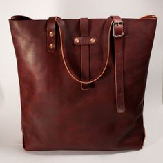 Oxblood Leather Tote by KMM leather goods