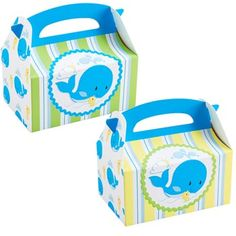Whale of Fun Empty Favor Boxes Includes (4) Whale of Fun Empty Favor Boxes that each measure approximately 6 wide x 4 high x 3 deep.