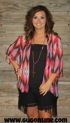 Blazing Fire Fuchsia and Turquoise Aztec Kimono with Fringe - www.gugonline.com