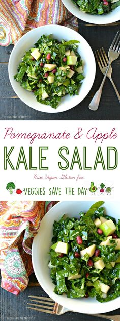 Pomegranate & Apple Kale Salad is easy to make ahead of time and lasts for days in the refrigerator.