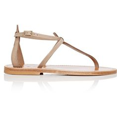 K JACQUES Women's Buffon T-Strap Nubuck Sandals ($290) ❤ liked on Polyvore featuring shoes, sandals, nude, nude shoes, stacked heel sandals, leather sole sandals, nude flat shoes and t-strap shoes