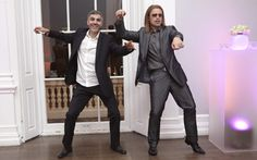 Oscars 2013 after-parties, Gangnam Style: Brad Pitt tries (in vain) to teach George Clooney to dance like PSY.    http://www.alisonjackson.com