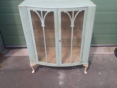 Vintage antique rustic shabby chic glass china display cabinet Annie Sloan