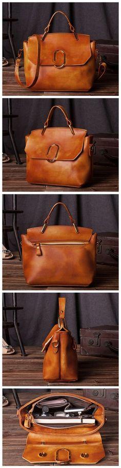 Handcrafted Wolmen Modern Fashion Leather Tote Bag Handbag Shoulder Bag Messenger C204 Overview: Design: Vintage Vegetable Tanned Leather Tote In Stock: 4-5 days For Making Include: Only Tote Bag Color