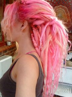 Dreads they re like big yarns of wool i bet she smells of a lush shop! yarn dreads diy dreadlocks dreadlocks yarn diy dreadlocks yarn diy diy yarn dreadlocks how to make diy dreadlocks with yarn yarn dreads diy dreadlocks diy fake dreadlocks yarn Pink Dreads, Yarn Dreads, Blonde Dreads, Dyed Dreads, Locs, Dread Braids, Ombré Hair, Hair Dos, Colorful Hair