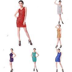 Latin Dance Dress Sleeveless Sequins Tassel V Neck Above Knee Vest Bodycon Skirt