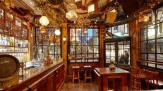 Mr Fogg's Tavern, Covent Garden, London. Small and quirky interior with victorian style and secret gin room upstairs.