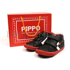 New PIPPO Galaxy Black Velcro Hi Top Leather Trainers various sizes