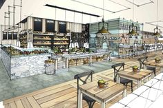 sketch interior food hall fenwick cafe newcastle drawing restaurant sketches architecture bakery rendering renderings exterior success recipe 3d interiors artist