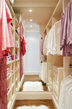 A client's daughter's walk-in closet designed to match her interest in fashion. By Casey Design Planning Group Inc. www.caseydesignplan.com  Photography by Ted Yarwood