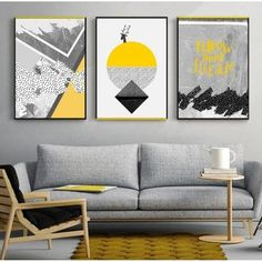 Peinture abstraite photo scandinave Pas de cadre 30x40cmx3pcs