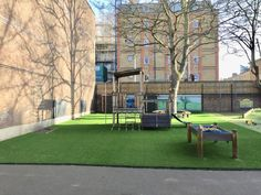 keep children engaged whilst at school with outdoor activities, which is why a soft, fake grass school playground is the perfect choice. Artificial Grass Installation, Water Waste, Fake Grass, Pretty Tough, Kids Play Area, Learning Environments, Back Gardens, Primary School, Nurseries