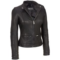 Black Rivet Womens Stitch Shoulder Leather Jacket W/Nipped Waist   Jet.com